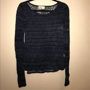 Hollister Navy Blue Shine Sweater w/Lace Back